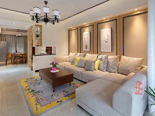 客厅的沙发背景采用浅木色+肌理感强烈的墙布,再配上新中式挂画,射灯的光晕,使得空间洋溢着特色风情和文化氛围