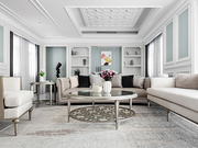 素净的米白空间里,青灰色在空间里跳动,粉红的花瓣在青石中绽放